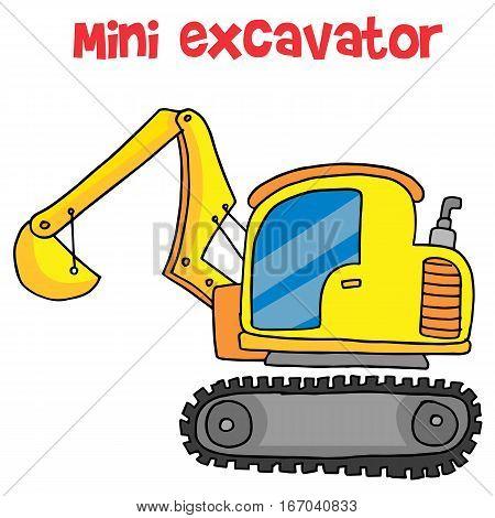 Yellow mini excavator cartoon vector art illustration