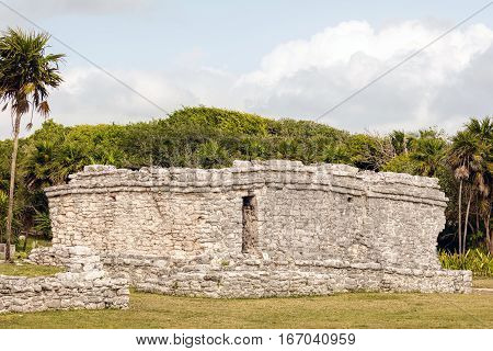 Ancient Mayan Ruins In The Tulum Archaeological Zone