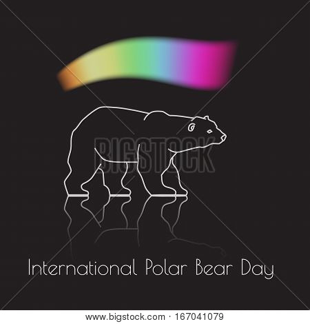 International Polar Bear Day.  A white Ursus maritimus and northern lights.  Vector illustration of aurora in the background.