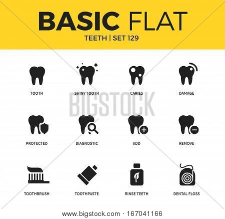 Basic set of shiny tooth, rinse teeth and dental floss icons. Modern flat pictogram collection. Vector material design concept, web symbols and logo concept.