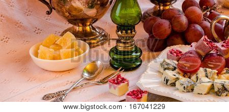 Snacks On The Table. A Festive Table Setting. Vintage Style.