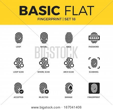 Basic set of loop scan form, whorl scan form and scanning form icons. Modern flat pictogram collection. Vector material design concept, web symbols and logo concept.