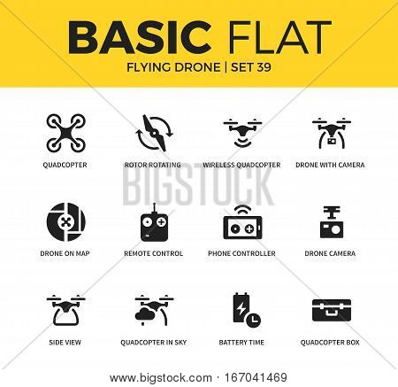 Basic set of side view, camera and phone controller icons. Modern flat pictogram collection. Vector material design concept, web symbols and logo concept.