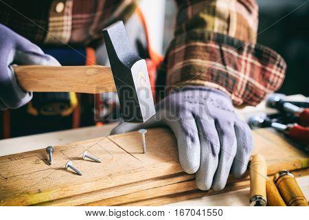 Carpenter Holding A Hammer