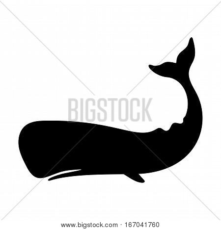 Silhouettes of  sperm whale, cachalot, sea animals isolated black and white vector illustration minimal style