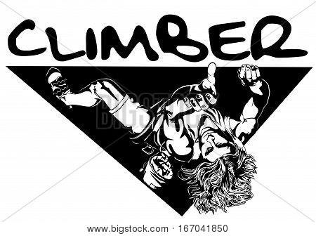 Climber extreme sports climbing illustration art vector