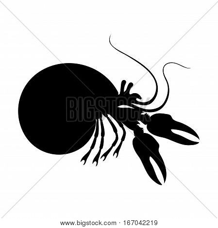 Silhouettes of hermit crab, sea animals isolated black and white vector illustration minimal style