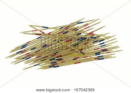 Game background, mikado isolated in white .