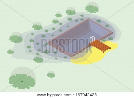 Isometric garden project at bathing pond. Oasis of calm in garden of house. Swim pond with plants and rectangular swimming area. Natural garden swimming pond. Vector illustration of water surface.