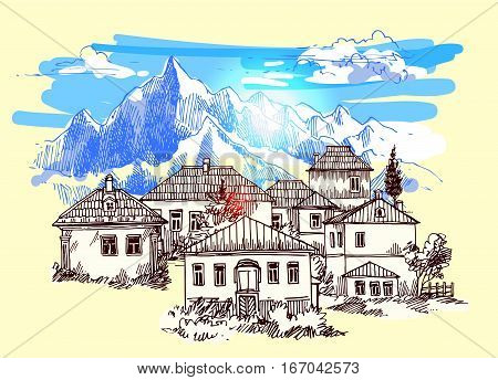 Abkhazia. Mountain landscape illustration. Drawing by hand. Sketch style