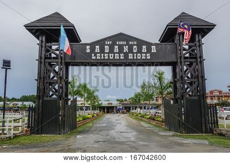 Tuaran,Sabah,Malaysia-Jan 22,2017:Entrance to Sabandar Leisure Rides cowboy town in Tuaran,Sabah features are a 19th century American lodge,stables,restaurants,paddocks,riding trails & lots of horses.
