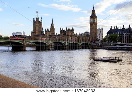 LONDON, GREAT BRITAIN - MAY 11, 2014: This is view of the Parliament of Great Britain and the Westminser Bridge.