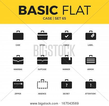 Basic set of handbag form, marker case and label case icons. Modern flat pictogram collection. Vector material design concept, web symbols and logo concept.