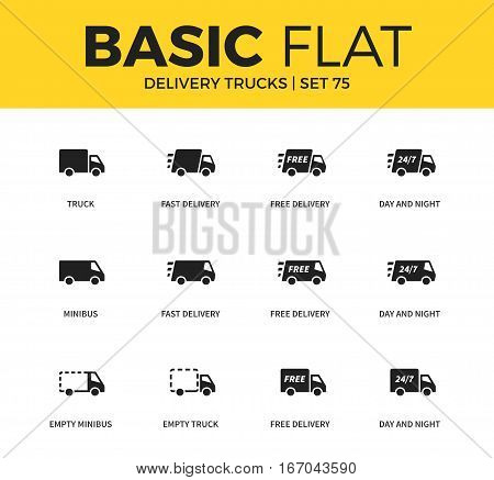 Basic set of empty truck form, fast delivery form and minibus icons. Modern flat pictogram collection. Vector material design concept, web symbols and logo concept.