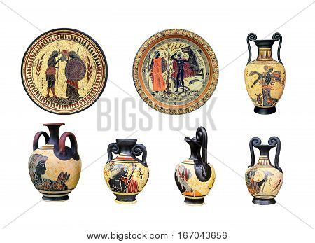 A large set of ancient Greek vases and plates on a white background. On vases and plates image heroes of Greek mythology. Achilles Thetis Athena Poseidon and the other gods. poster