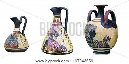 Set of Greek vases isolated on white background. On vases image of Athena Zeus and Artemis. Mifolgoicheskie heroes.