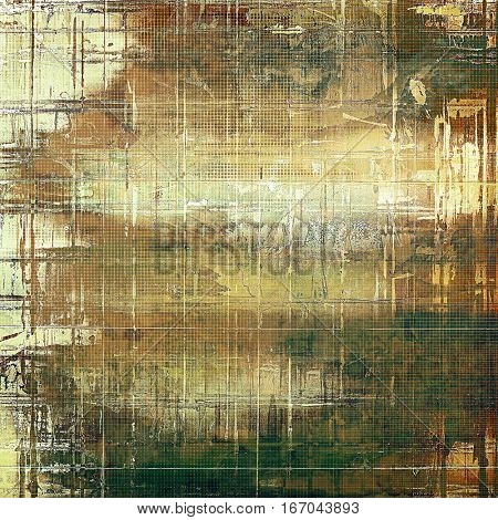 Vintage background, antique grunge backdrop or scratched texture with different color patterns: yellow (beige); brown; green; gray; white