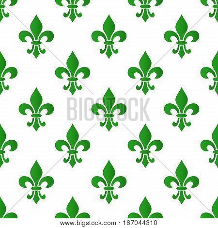 Mardi Gras Carnival seamless pattern with green fleur-de-lis. Mardi Gras endless background texture wrapper. Vector illustration EPS10.