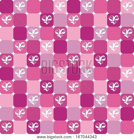 Elegant checked pattern with floral hearts over pink magenta and lilac tiles. Valentine's Day or wedding design background. Already in swatches.
