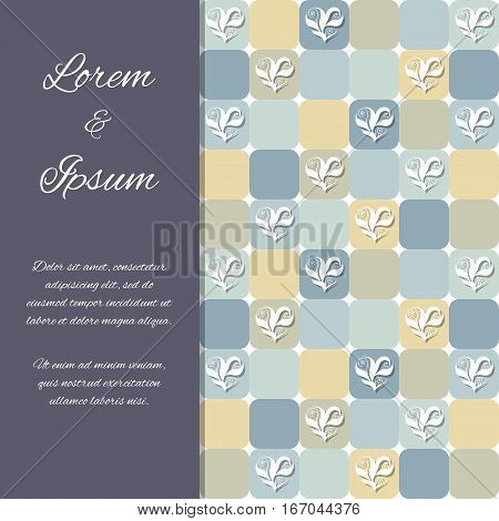 Flyer invitation or greeting card design template with floral hearts over yellowish and grayish tiles. Valentine's Day or wedding background. Pattern already in swatches.