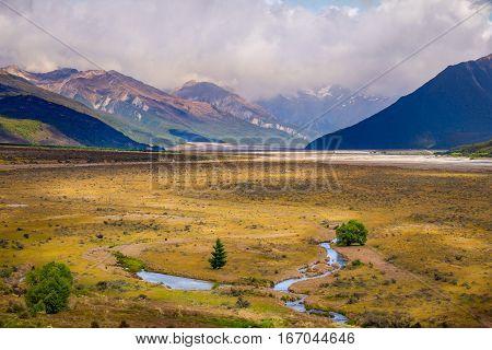 Mountains Landscape View At Arthur's Pass, New Zealand