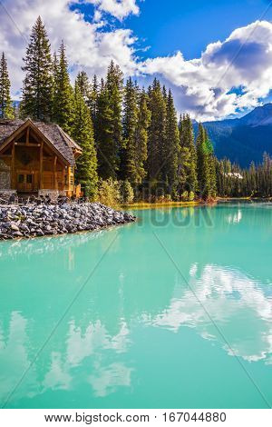 Emerald Lake in Yoho National Park, Canada. Camping and coniferous forest