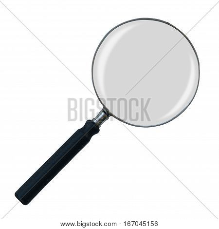 Isolated Vintage Magnifying Glass On A White Background With Light Reflections