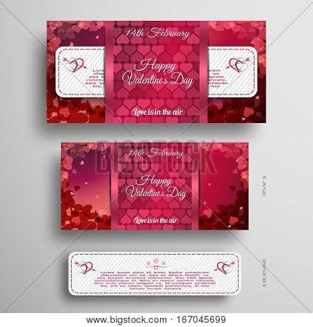 Vector set of red and pink greeting card for Valentine's Day with insert stripe and red pattern on the gray background.