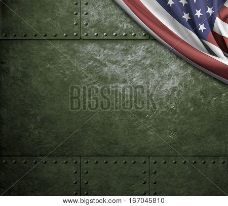 green metal armor with and USA flag