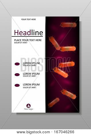 Orange 3d bacteria cell culture with flagellums under microscope. Biology Microbiology Science. Cover design A4 for books journals conferences medical reports banners. Vector.