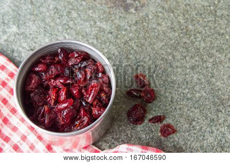 Dry Cranberry In A Metal Can