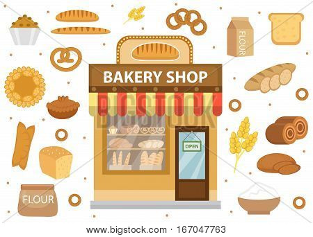 Bakery set icons with bread shop building, roll, loaf, cakes, bagels, loaf. Isolated on white background. Vector illustration