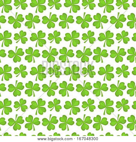 Clover seamless pattern. St. Patricks Day endless repeated backdrop, texture, wallpaper. Luck symbol backdrop. Vector illustration