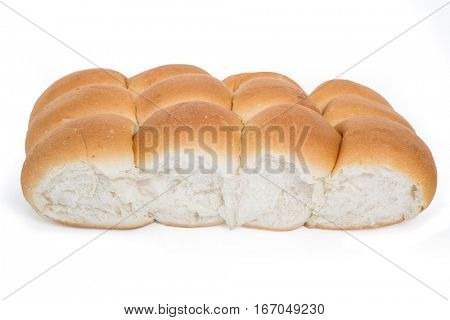 Pan bread rolls isolated on white.