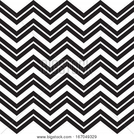Seamless zigzag pattern of parallel lines. Geometric wave. Seamless background with horizontal black stripes of zigzag on white background. For Art, Print, Web, Holiday decoration textile
