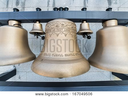 Traditional church bells of the famous Saint Stefan citadel from Baia Mare city, Romania