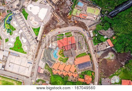 Aerial Shoot Of Banos De Agua Santa Ecuador South America