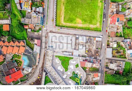 Wide Angle Aerial Shot Of Banos De Agua Santa Tungurahua Province South America