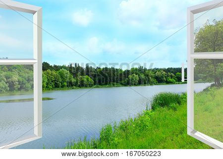 opened plastic window with view to summer landscape with forest and lake. What a fresh air