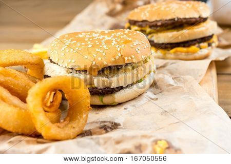 Cheese burger - American cheese burger with Golden onion rings