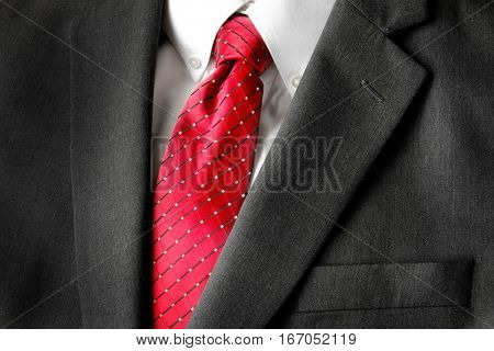 Business suit white shirt and red tie for formal wear fashion