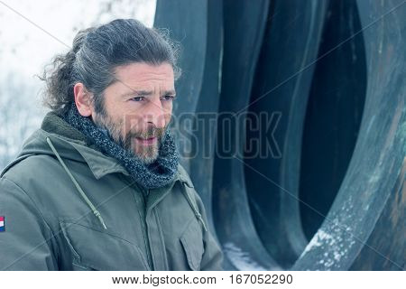 Portrait of a middle aged man in the park