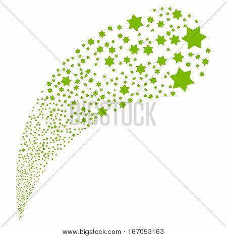 Six Pointed Star random source stream. Vector illustration style is flat eco green iconic symbols on a white background. Object fountain created from design elements.
