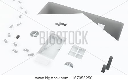 Small white house front pit deep 3d illustration horizontal