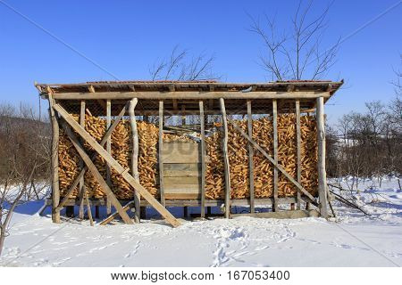 corn granary in winter