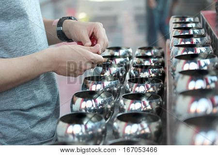 Pay Coins In 109 Monk Bowls In Buddhist Worship Way .