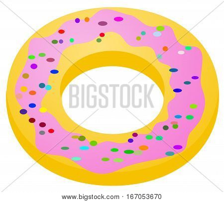 Donut pastry cartoon, vector illustration, over white, isolated