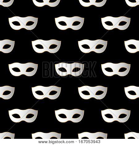 Mardi Gras Carnival seamless pattern with masks. Mardi Gras endless background texture wrapper. Vector illustration EPS10.