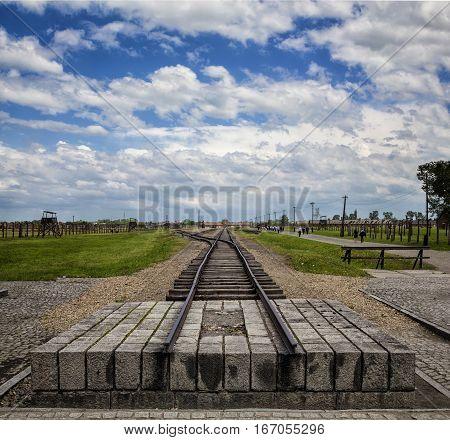 Railroad tracks at Auschwitz II-Birkenau Concentration Camp Oświęcim