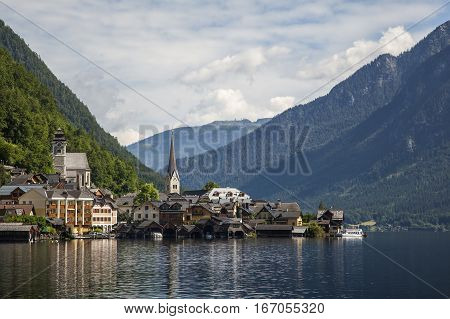 Close view of Hallstatt village Hallstatt Austria